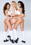 three tall brunettes in white socks and sports shoes