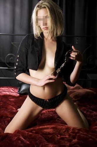 blonde escort with handcuffs