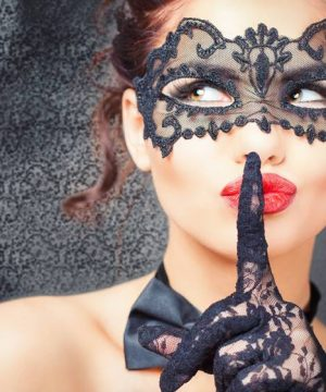 sexy female with mask on and full red lips